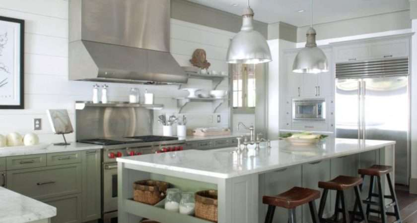 Gray Green Cabints Cottage Kitchen Benjamin Moore