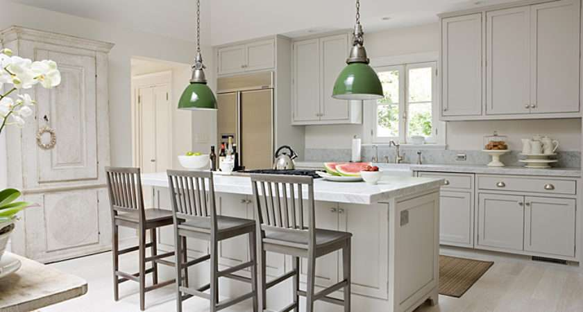 Gray Green Kitchen Light Shaker Cabinets