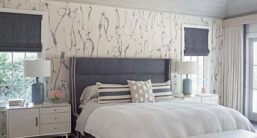 Gray Headboard White Marble Lamp Transitional Bedroom