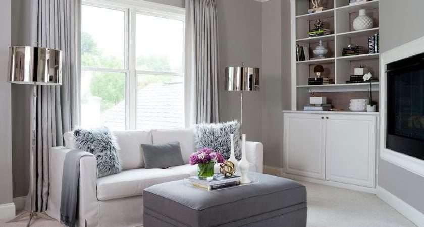Gray Living Room Corner Niche Contemporary