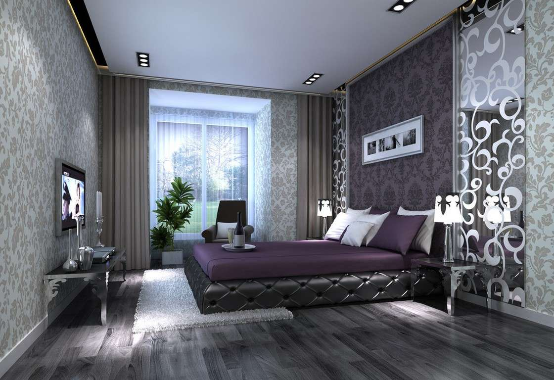 Gray Purple Bedroom Interior