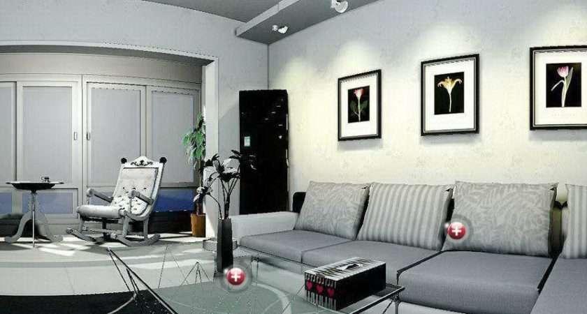 Gray Sitting Room Interior Design House