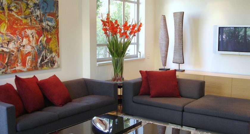 Gray Sofas Living Room Red Flowers Cushions