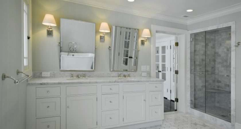 Gray Walls Marble Basketweave Tiles Floor White Double Bathroom Vanity