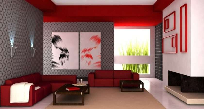 Gray White Floral Wall Design Red Sofa Living Room