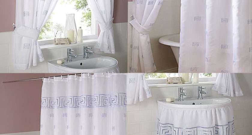 Greek Key Embroidered Voile Bathroom Shower Window