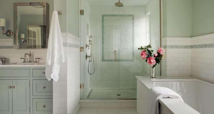 Green Bathroom Blue Mosaic Tiles Transitional