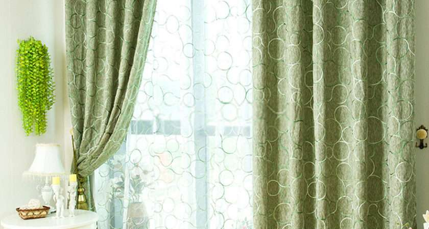 Green Color Patchwork Curtains Blackout
