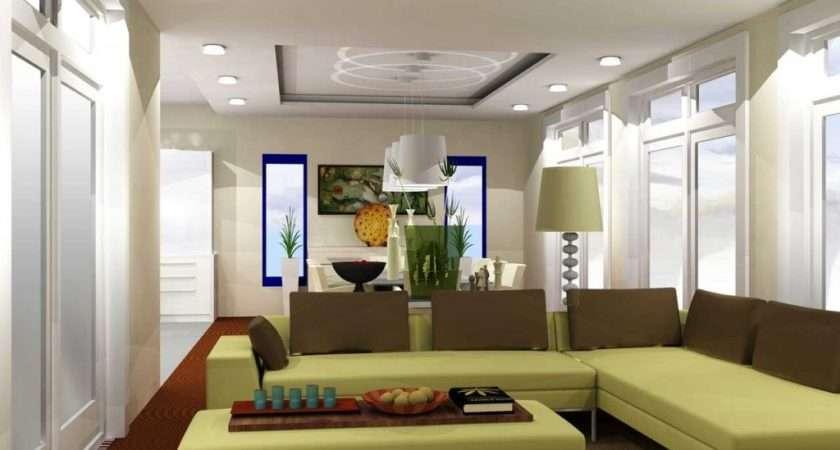 Green Living Room Design Minimalist Light Wall