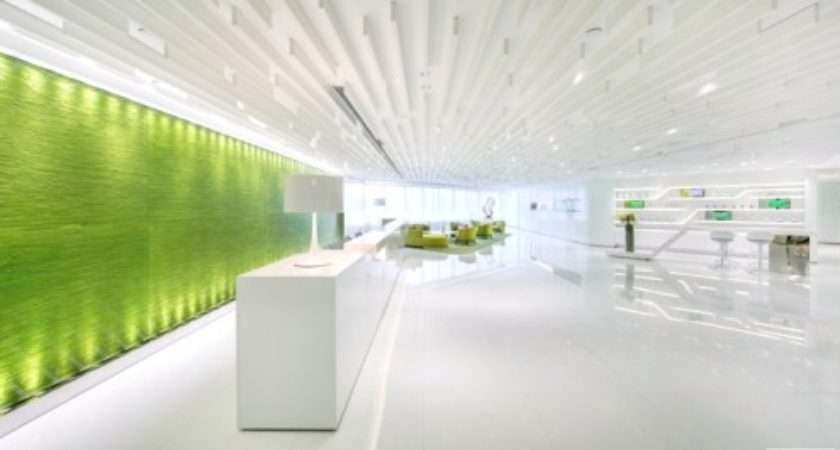 Green Office Design Refreshing Look Feature Wall