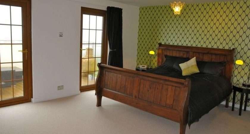 Green Olive Bedroom Master Wooden Floor Feature Wall