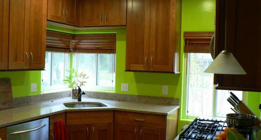 Green Paint Colors Kitchen Natural Brown Cabinet