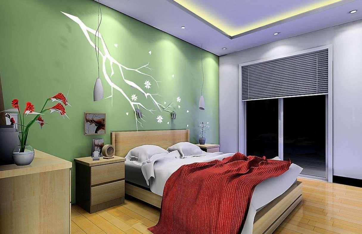 Green Wall Bedroom House