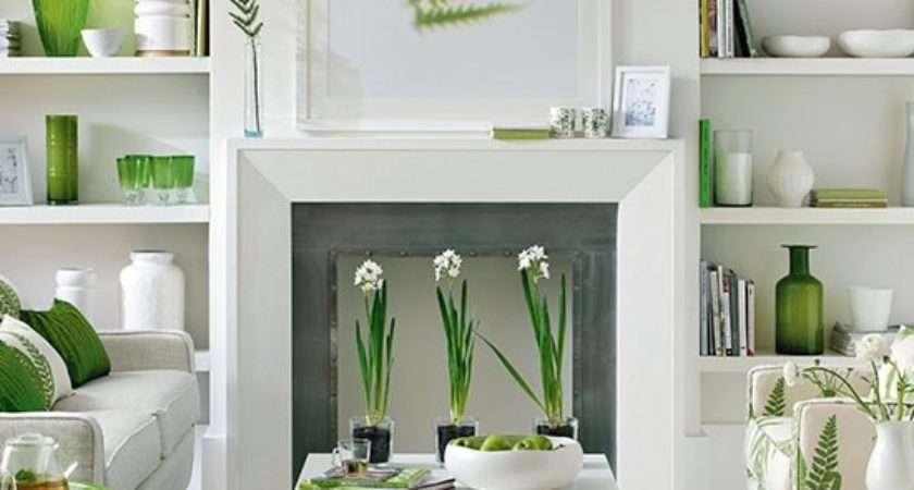 Green White Living Room Decorating