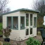 Green White Pent Roof Summerhouse