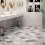 Grey Arabesque Bathroom Floor Tile Gray