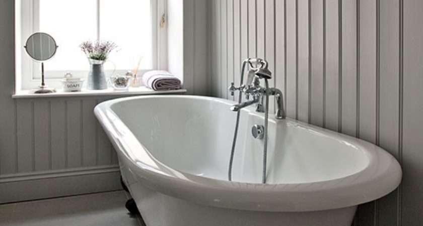 Grey Bathroom Roll Top Bath Step Inside Modern