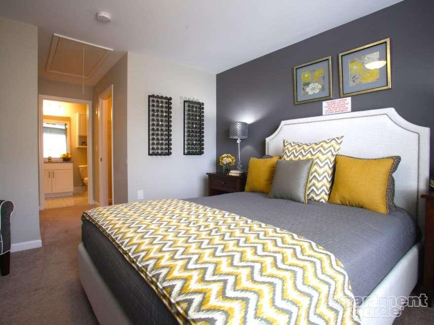 Grey Bedroom Idea Chevron Throw Love Dark Accent Wall