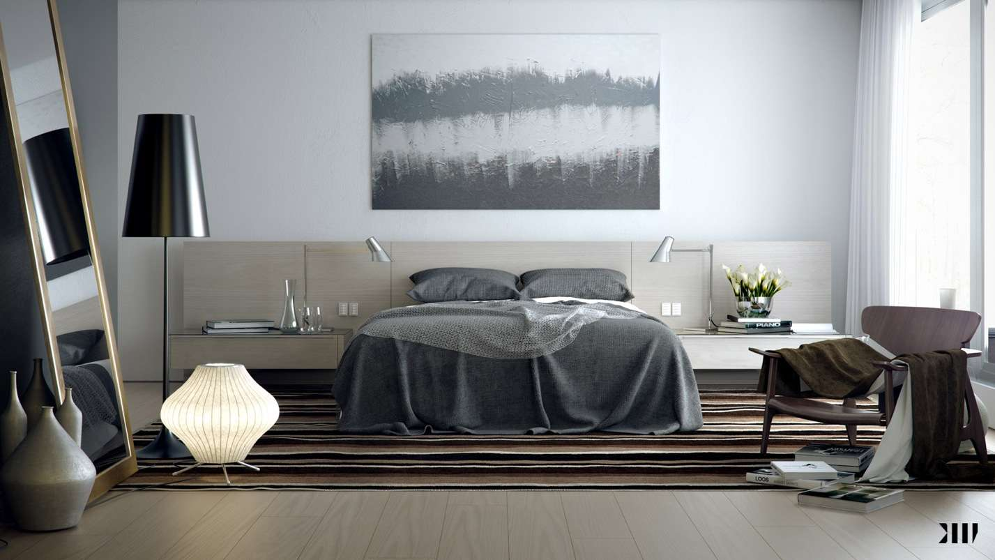 Grey Brown White Bedroom Scheme Pillow Design Olpos