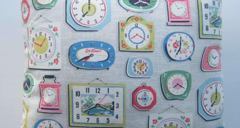 Grey Clock Cushion Cover Cath Kidston Fabric
