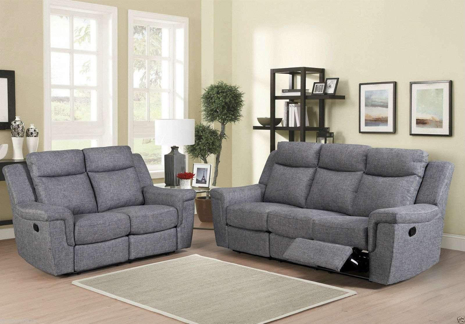 Grey Fabric Recliner Sofa Armchair