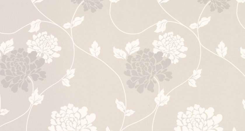 Grey Floral Grasscloth