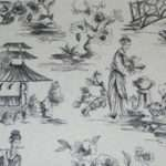 Grey Oriental Toile Fabric Asian Shopmyfabrics