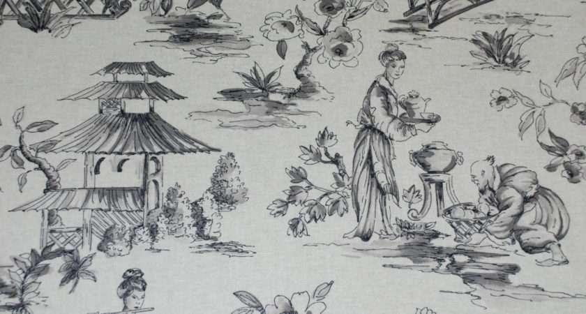 Grey Oriental Toile Fabric Asian Shopmyfabrics