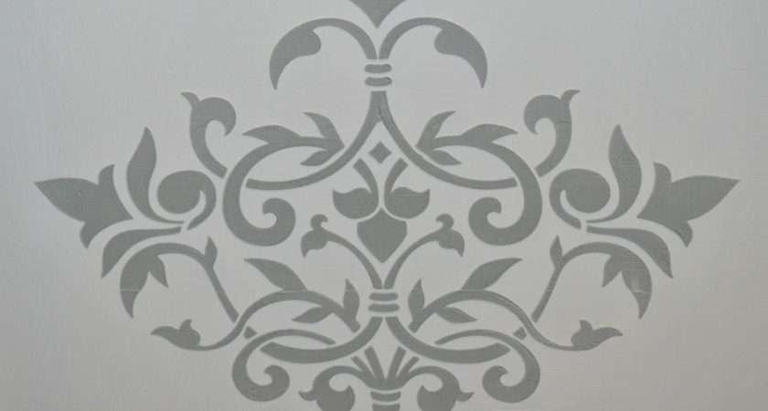 Grey Paint Stencils Autentico Fleur Wall Floor Stencil