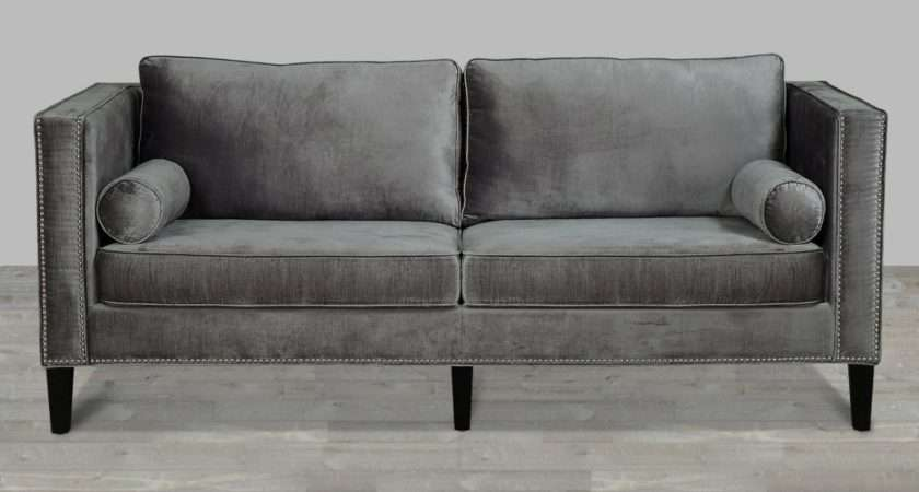 Grey Velvet Sofa Nailheads