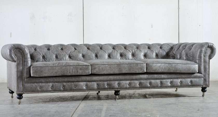 Grey Velvet Tufted Sofa Clic Scroll Arm