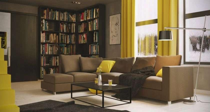 Grey Yellow Brown Living Room Home Combo