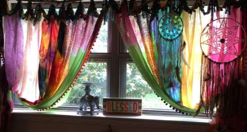 Gypsy Boho Tie Dye Hippie Bed Canopy Drape Shower Curtain