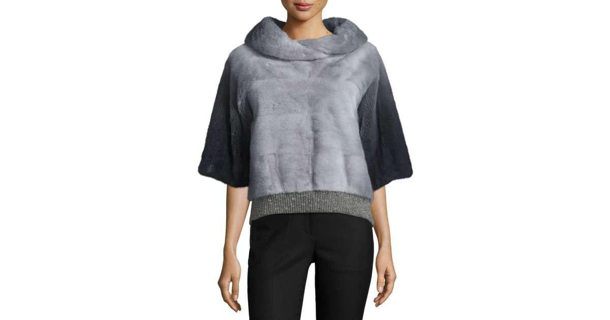 Half Sleeve Mink Fur Pullover Gray Dark Grey Save Lyst