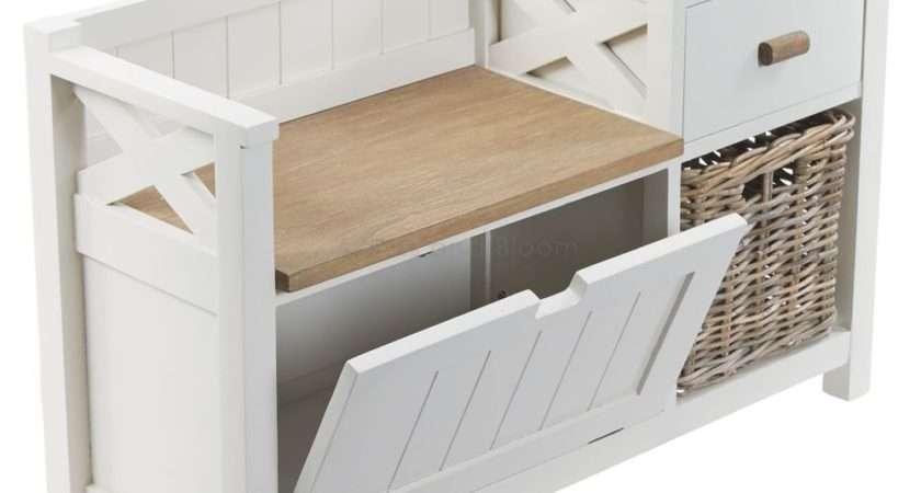 Hallway Storage Unit Seat Bench Basket