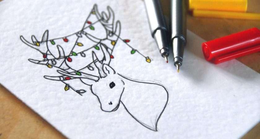 Hand Drawn Christmas Cards Blackbird