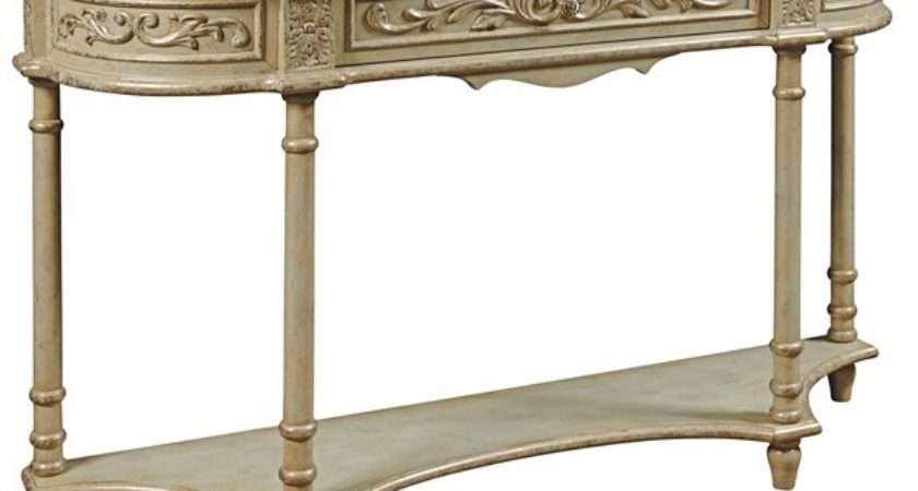 Hand Painted Distressed Vintage Ivory Cream Finish Console