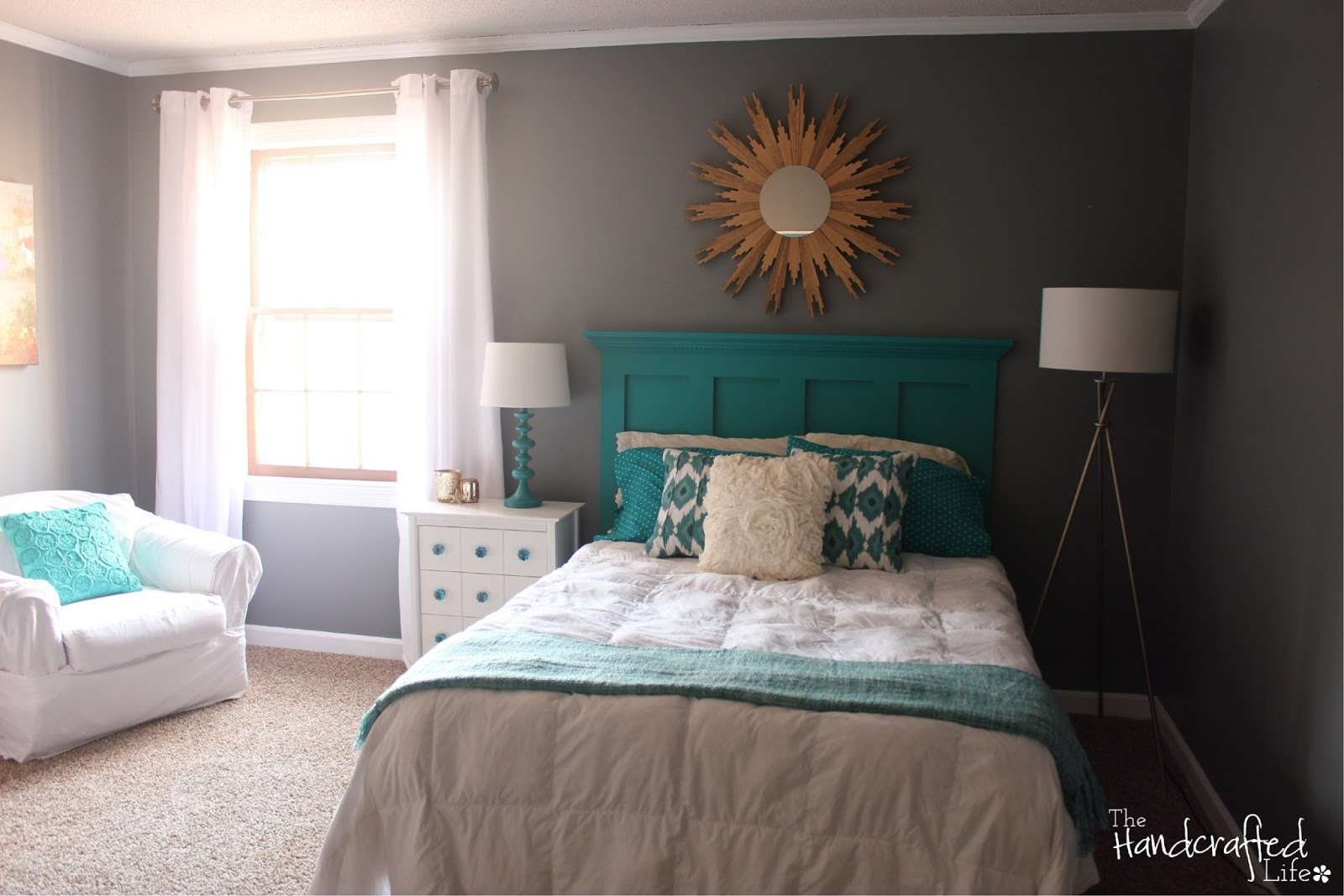 Handcrafted Life Teal White Grey Guest Bedroom Reveal