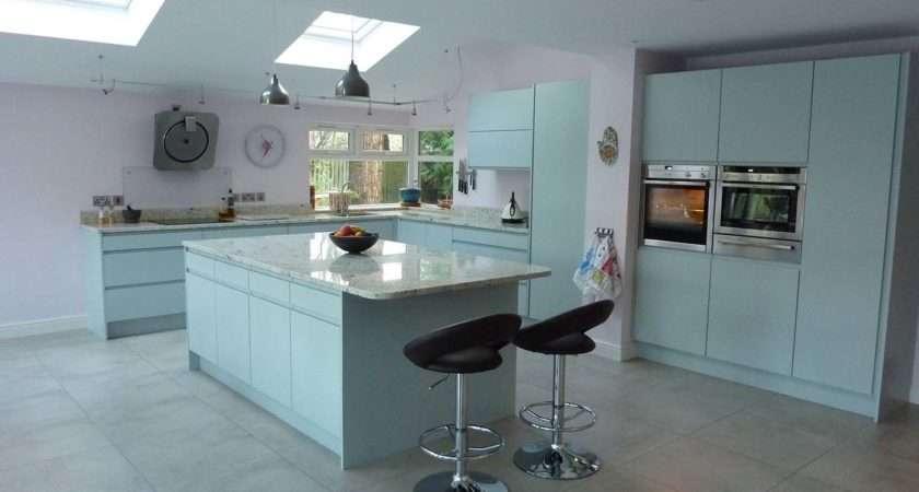 Handleless Kitchen Duck Egg Blue Andrew Whittle Interiors
