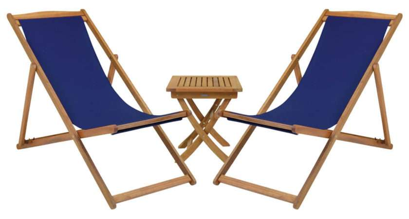 Hardwood Square Table Pair Foldable Deck Chairs