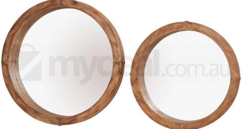 Harlow Natural Timber Round Mirror Classic Set Buy