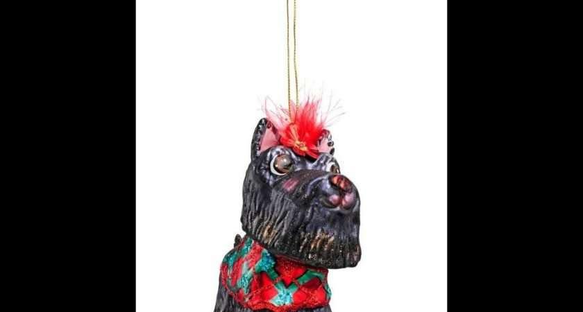 Harrods Black Scottie Dog Glass Christmas Tree Decoration Scottish