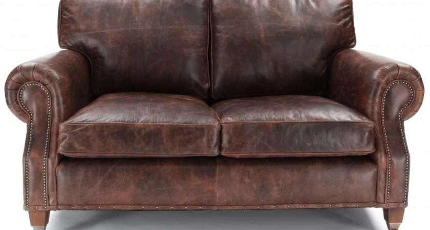 Hepburn Shabby Chic Vintage Leather Small Seater Sofa
