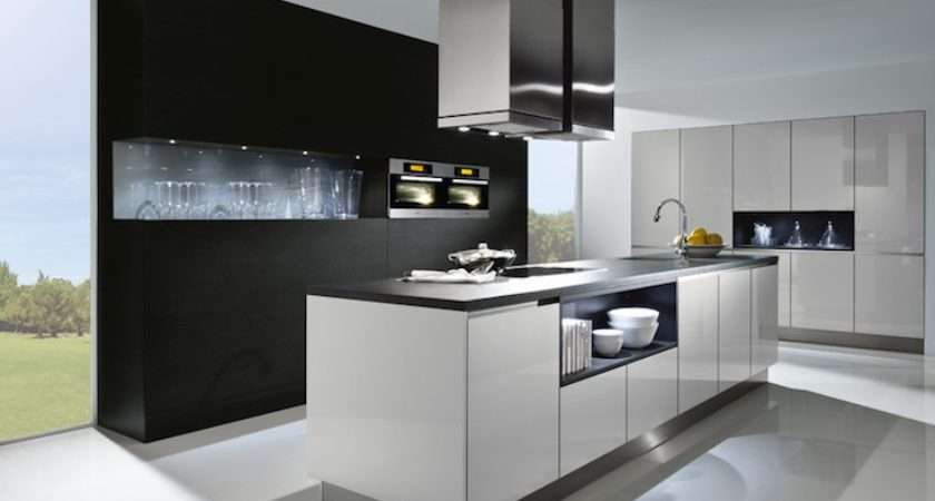 High Gloss Lacquer Light Grey Kitchen