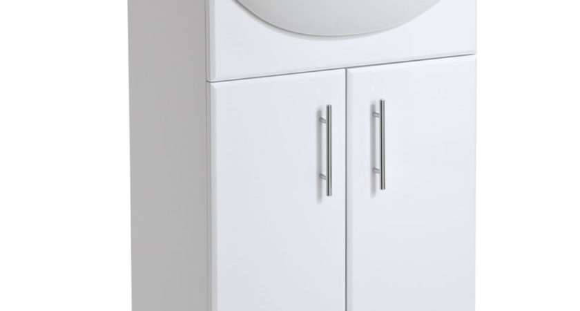 High Gloss White Bathroom Vanity Unit Storage Cabinet