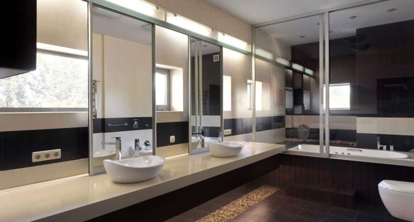 His Hers Twin Sinks Modern Mirrored Bathroom Large Tub