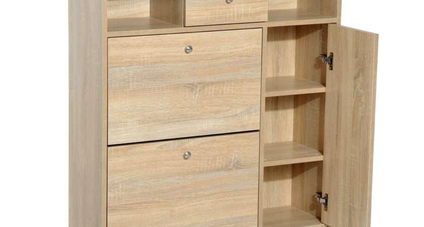 Homcom Shoe Storage Cabinet Entryway Hallway Wooden Chest