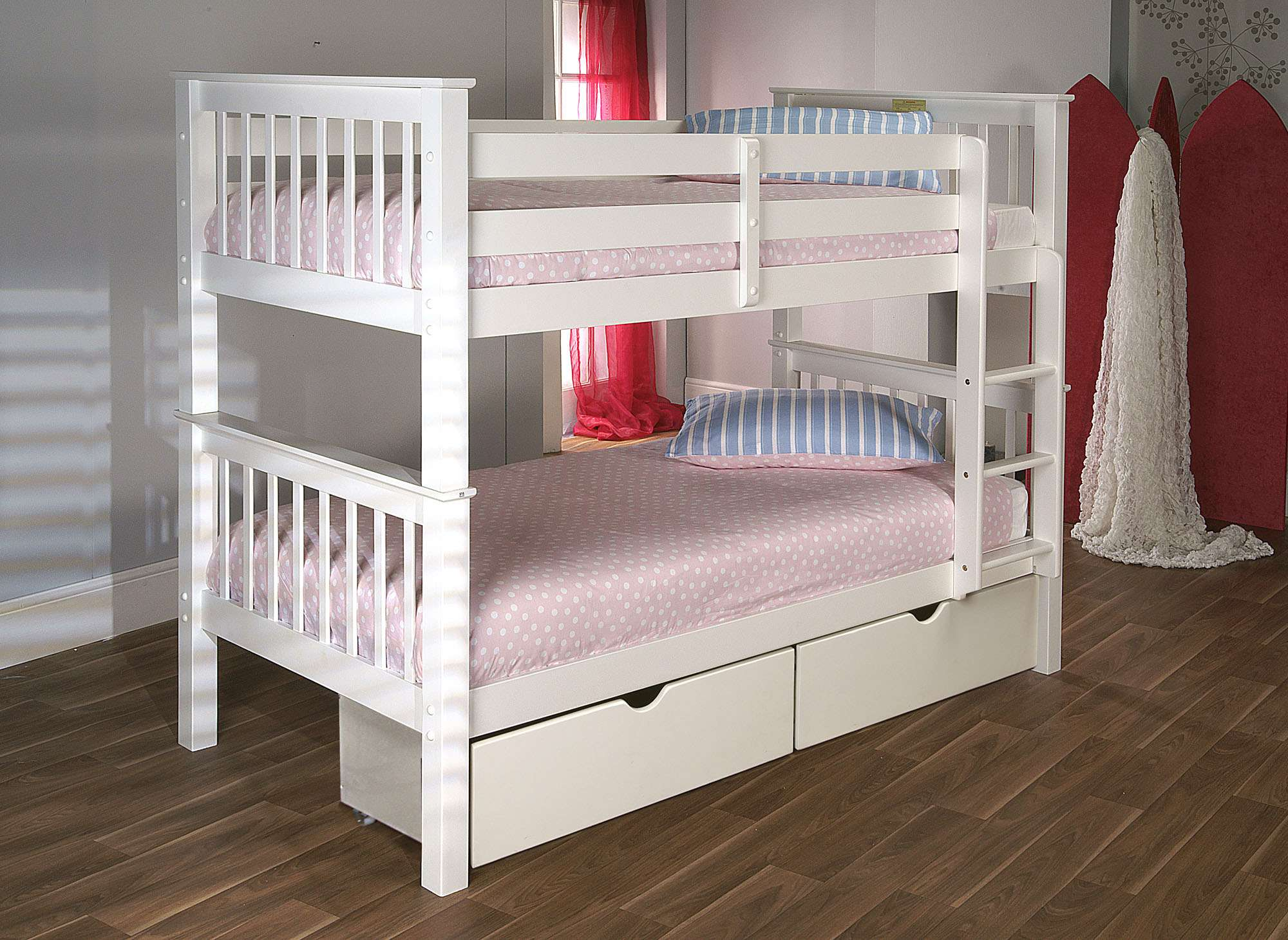 Home Beds Children Wooden Bunk Bed Pine White