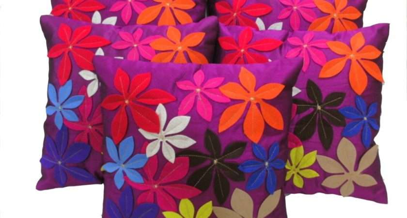 Home Felt Flower Patch Cushion Cover Purple Set
