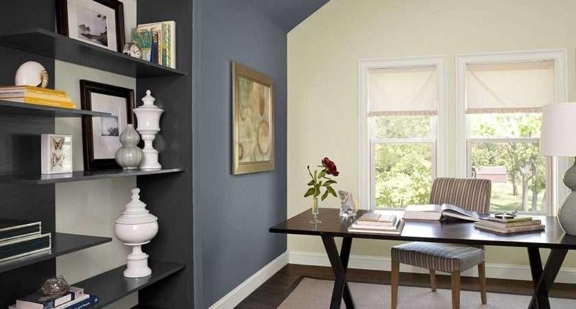 Home Office Color Schemes Dark Desk Beige Rug